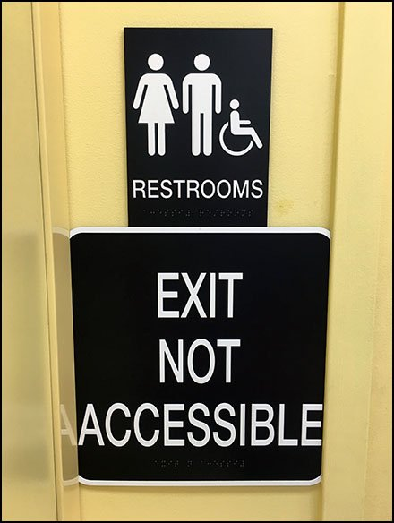 No Restroom Exit Possible Warning Sign
