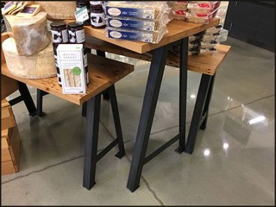 Wood Plank Triangular Trestle Tables