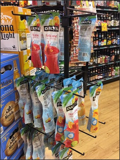 Cocktail Pouch Merchandising by Daily's
