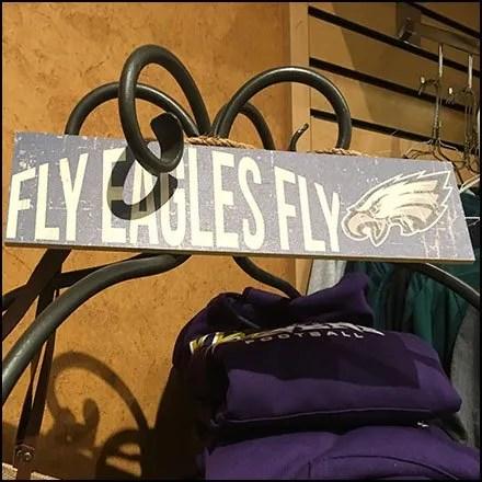 Eagles Football Ornate Wrought Iron Rack Feature