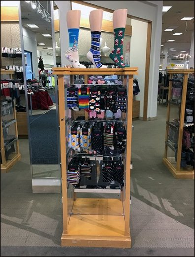 Holiday HotSox Christmas Originals Display at Bon-Ton