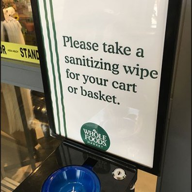 Professional Cart Wipe Dispenser At Whole Foods