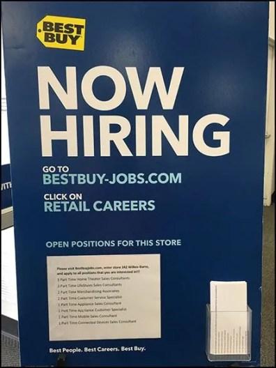 Best Buy Hiring Positions Via Entry Easel