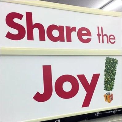 Share The Joy Endcap Sign At Big Lots