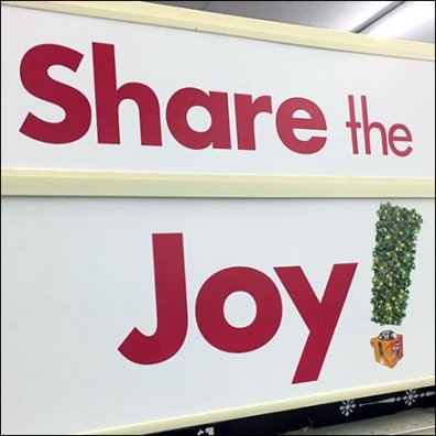 Share The Joy Endcap Sign At Big Lots
