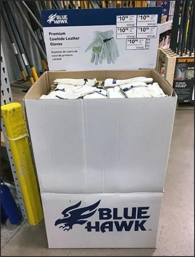 Blue Hawk Leather Glove Corrugated Display