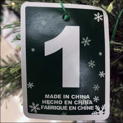 Chinese Christmas Tree Country of Origin Tag Feature