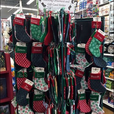 Personalized Christmas Stocking Tower Display