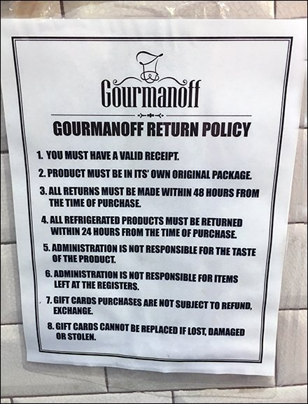 Gourmet Grocery Return Policy at Gourmanoff