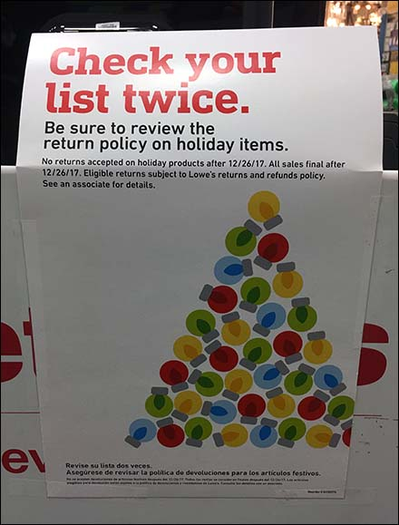 Short Return Policy on Christmas Items
