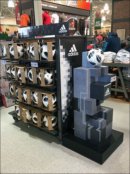 Adidas Soccer Ball Endcap and Inline Display