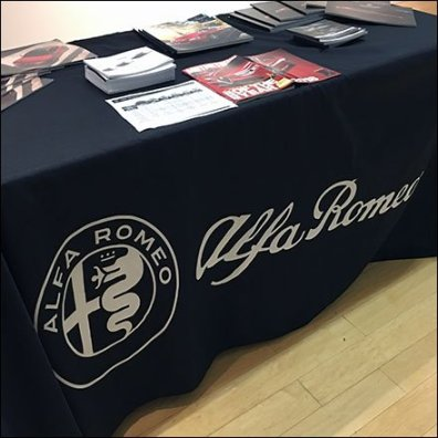 Alfa Romeo Branded Table Drape At The Mall Feature