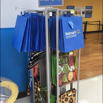 Perforated Metal Tower With Hooks For Shopping Bags