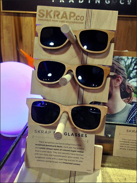 Skrap Recycled Skateboard Sunglass Display