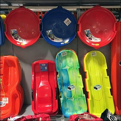 Snow Sled and Saucer Inline Gondola Display
