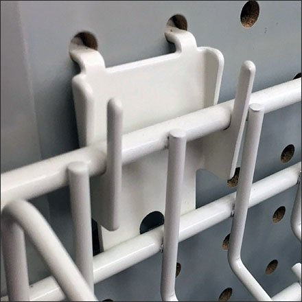 Pegboard Pin-Up Hook for Gravity Feed Shelves