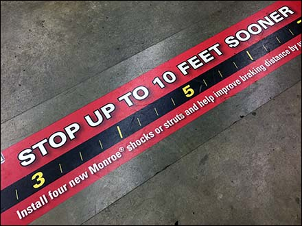 Monroe Floor Graphic Stops 10 Feet Short