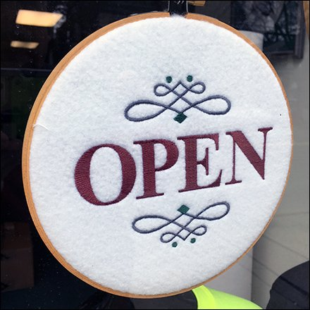 Open For Business Embroidered Sign Feature