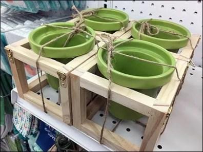 Twine Tied Flowerpots in Wood Carriers
