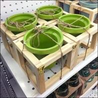 Twine Tied Flowerpots in Wood Carriers Feature