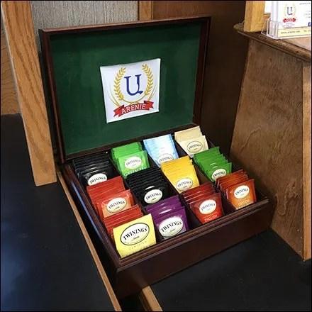 Felt-Lined Mahogany Twinnings Tea Sampler