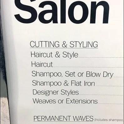 Salon Services Menu Sign At BonTon