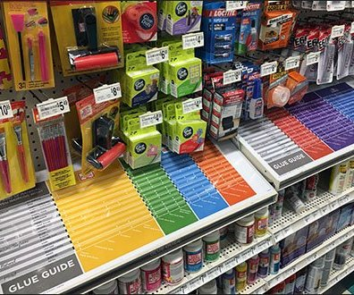 Color Coded Shelf-Top Glue Guides