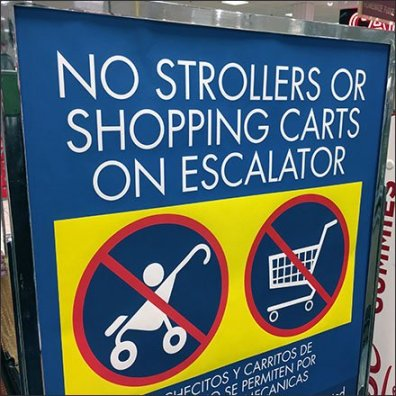 Shopping Cart and Stroller Escalator Warning