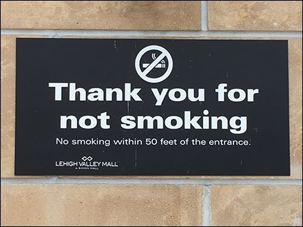 No Smoking Within 50 Feet Of Mall Entrance
