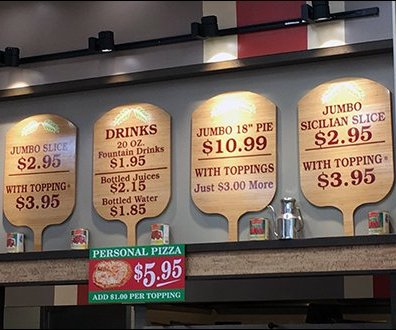Pizza Peel Wood Signs at Marinella Pizzeria