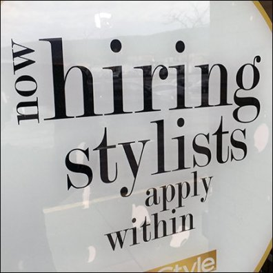 Now Hiring Stylists, Apply Within Circular Sign