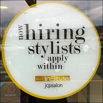 Now Hiring Stylists, Apply Within Circular