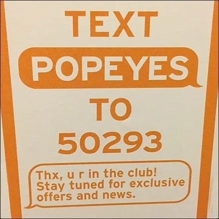 Popeyes Social Media Text Invitation Feature