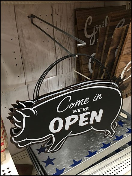 Come In We're Open Pig Silhouette Sign