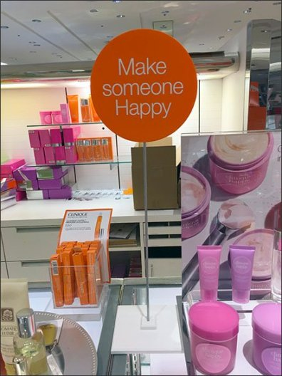 Make Someone Happy Clinique Sign Stand