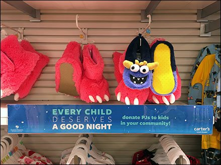 Donate PJs to Kids Charity Shelf Talker