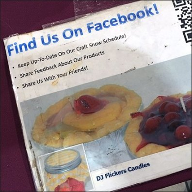 Find Candles On Facebook or By QR Code