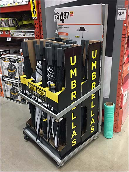 Mobile Golf Umbrella Display by Firm Grip