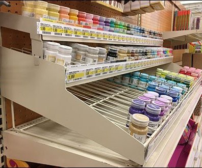 Gravity Feed Acrylic Paint Shelf Top Rack
