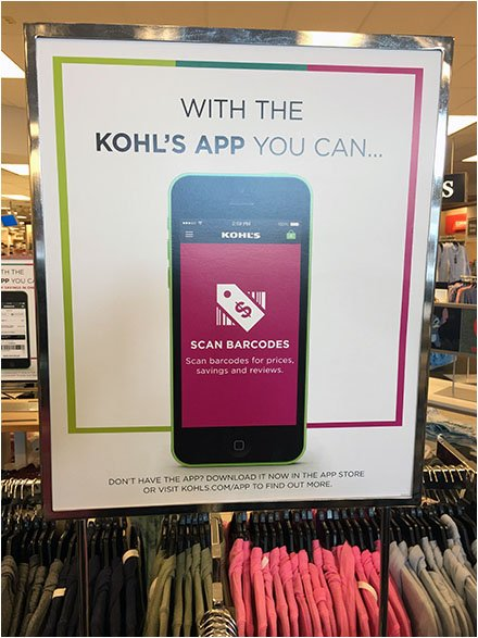 Kohls Mobile App Sign Says Scan Barcodes