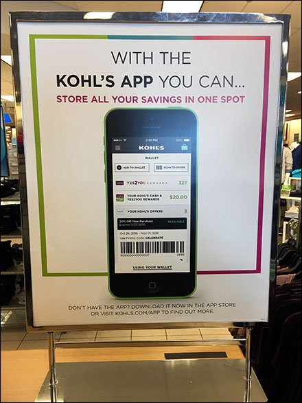 Kohls Mobile App Sign Says Store All Savings