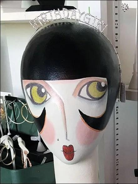 Hand-Painted HeadformBirthday Girl Rhinestones