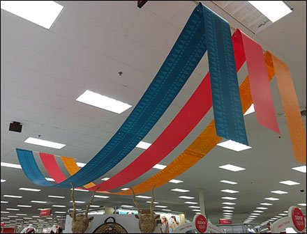 Fabric Banner As Overhead Space Frame – Fixtures Close Up