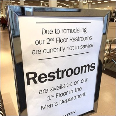 Restroom Remodel Redirect Navigation Sign Feature