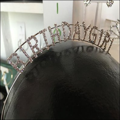 Handpainted HeadformBirthday Girl Rhinestones