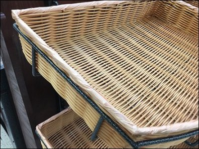 Wicker Basket Trays as Recessed Shelves
