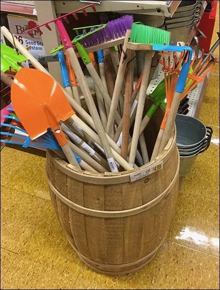 Wood Barrel Garden Tool Merchandising