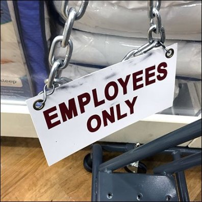 Terse To-The-Point Employees Only Warning