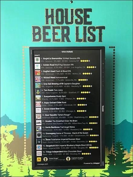 Viva Farms House Beer List Entry Sign
