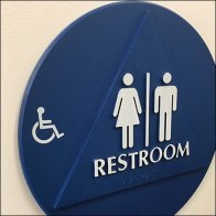 Handicapped Footnote To Restroom Sign